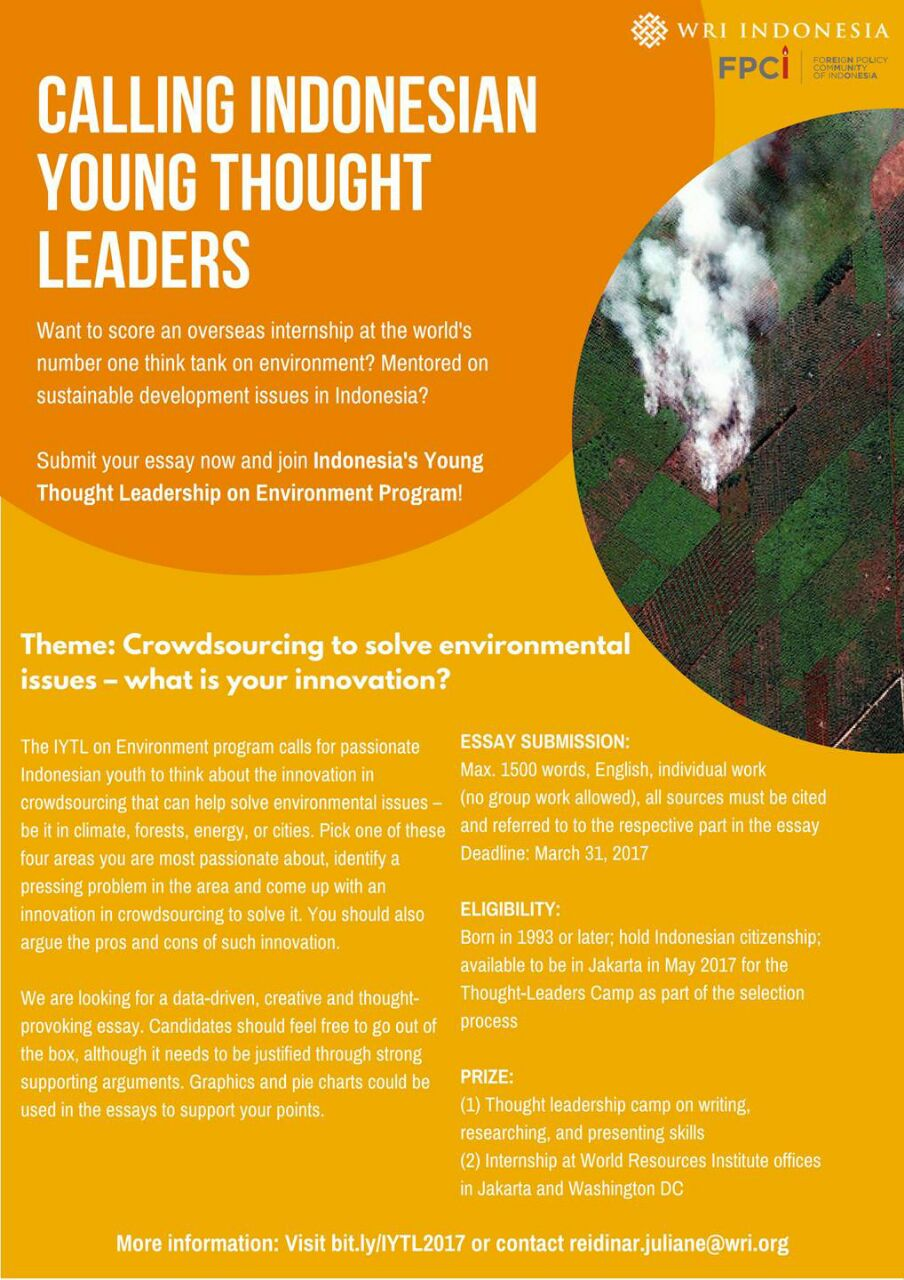 n young thought leaders on environment student job n young thought leaders on environment 2017